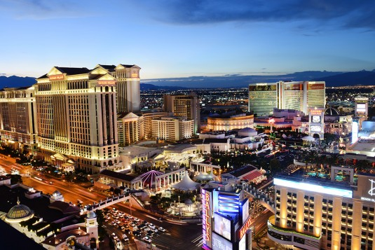 7/31/14 Las Vegas Strip at dusk from Bally's Hotel with Caesars Palce